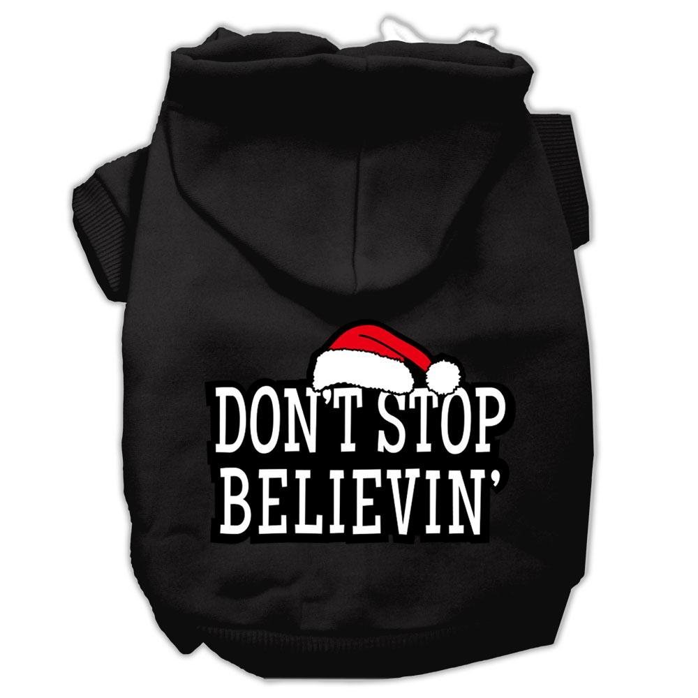 Black X-Large Black X-Large Mirage Pet Products Don't Stop Believin' Screenprint Pet Hoodies, X-Large, Black