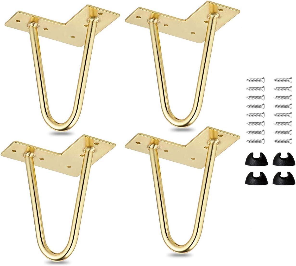 La Vane 4 St/ück Modern-Stil DIY Metall M/öbelf/ü/ße Hairpin Legs mit Bodenschoner /& Schrauben f/ür Schreibtisch Schrank Nachtst/änder 10cm Haarnadel Tischbeine 4