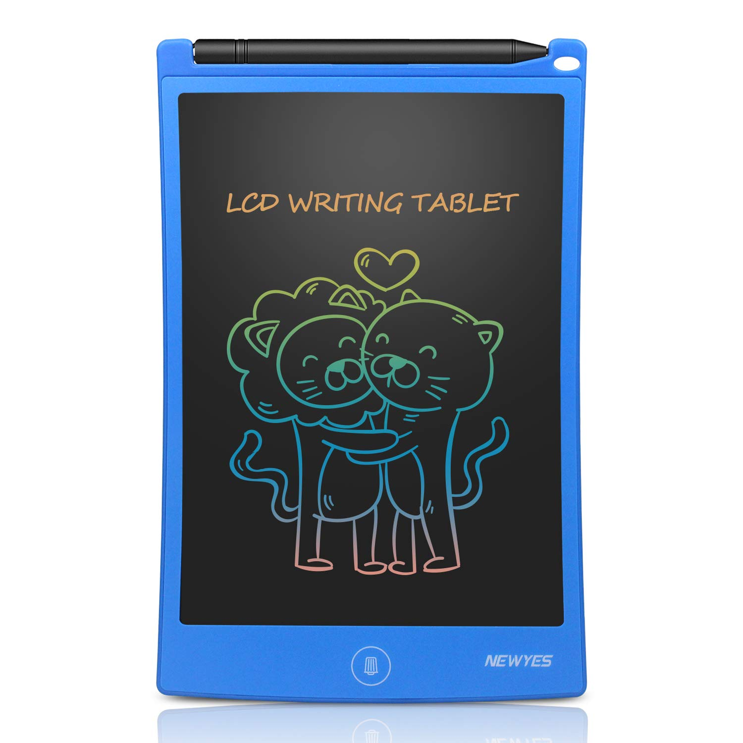 NEWYES 8.5 Inches Colorful Doodle Board LCD Screen Writing Tablet Magnetic Drawing Board Erasable Doodles Notepad Gifts for Ages 3 Black