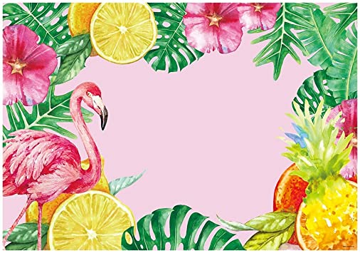 New Girls Flamingo Pink Floral Tropical Backdrop 7x5ft Hawaiian Flamingo Baby Shower Photo Background Watercolor Art Wall Backdrops for Decor Happy 1st Birthday Backgrounds No Wrinkle