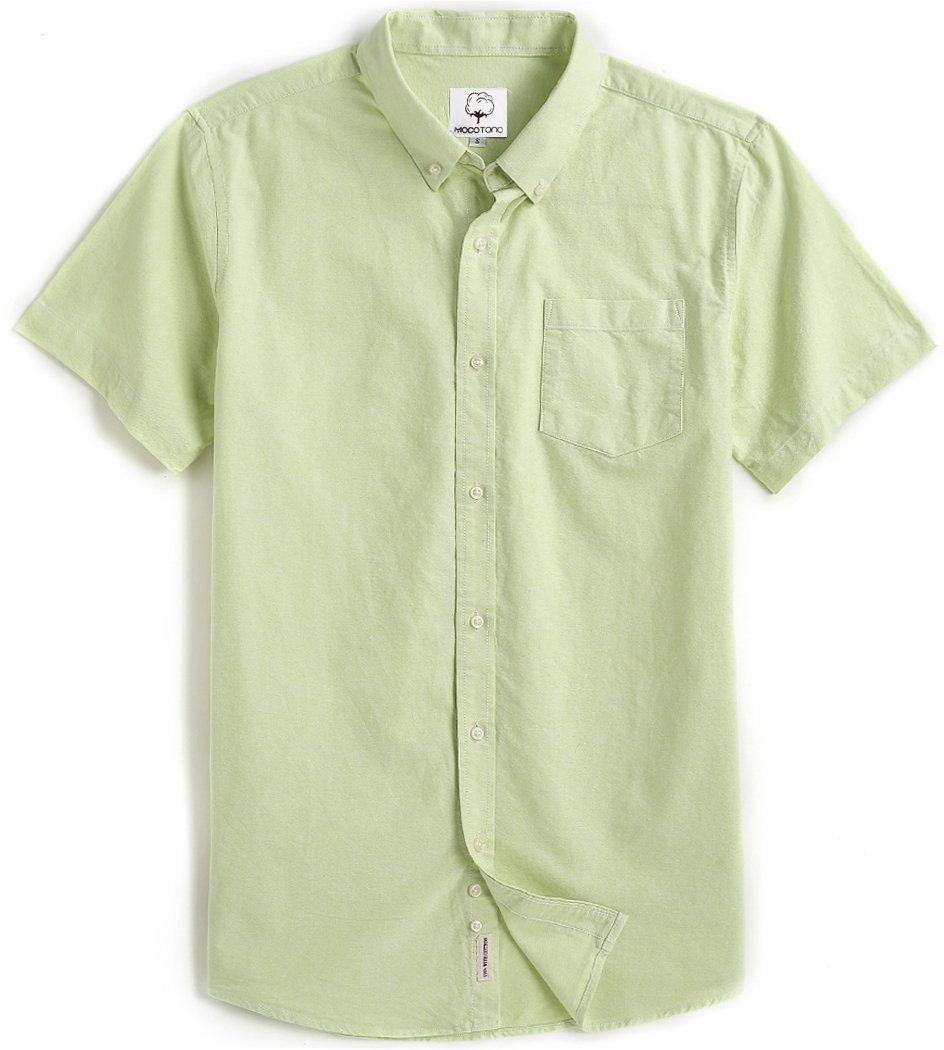 Men's Short Sleeve Oxford Button Down Casual Shirt Green Medium