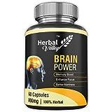 HerbalValley Brain Power Capsule with 7 Herbal Ingredients for Better Memory, 60 Capsules