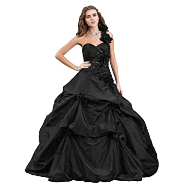 056e1896c LightInTheBox TS Women's One Shoulder Taffeta Formal Evening Dress with  Appliques Pick Up Skirt Black