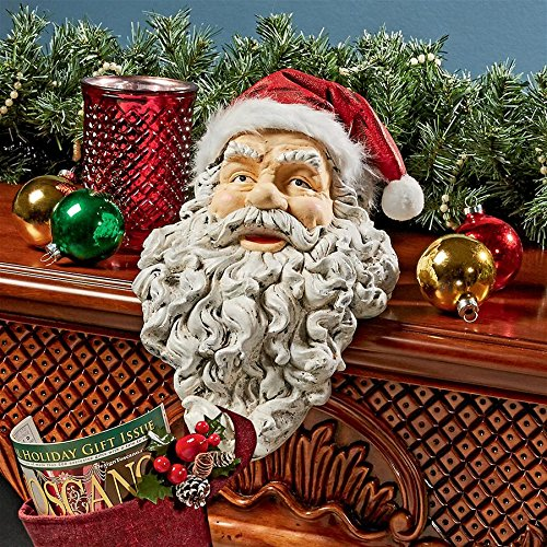 - Christmas Decorations - Ho-Ho-Hold It Santa Claus Fireplace Mantle Christmas Stocking Holder Statue