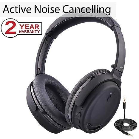 Avantree Auriculares Bluetooth 4.1 con Cancelación Activa de Ruido y Micrófono, Diadema Inalámbricos/con