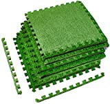 Sorbus Grass Mat Interlocking Floor Tiles – Soft Artificial Grass Carpet – Multipurpose Foam Tile Flooring – Patio, Playroom, Gym, Tradeshow 16 Sq ft (4 Tiles, Borders) (6 Tiles (24 Sq ft))