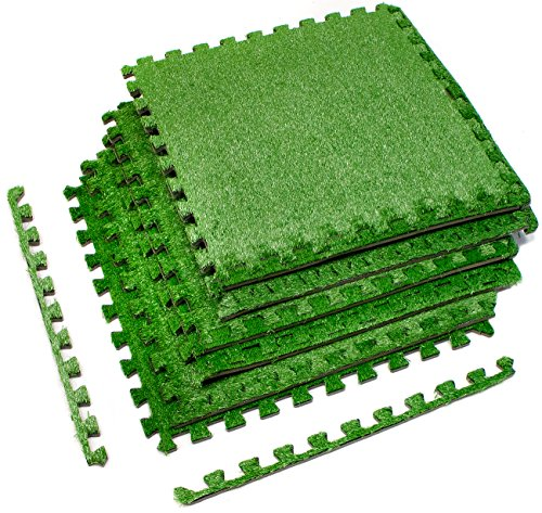 Sorbus Grass Mat Interlocking Floor Tiles – Soft Artificial Grass Carpet – Multipurpose Foam Tile Flooring – Patio, Playroom, Gym, Tradeshow 16 Sq ft (4 Tiles, Borders) (6 Tiles (24 -