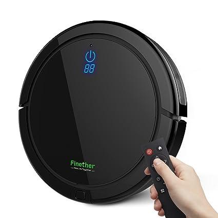 Finether-Robot Aspirador Aspiradora de Limpieza Robot de Piso para Hogar con Control Remoto,