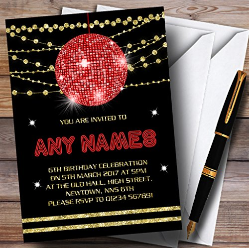Red Gold Disco Ball Invitations Childrens Birthday Party -