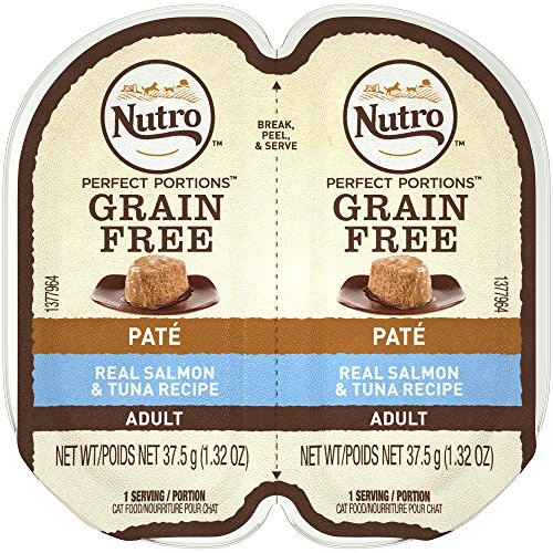 NUTRO PERFECT PORTIONS Grain Free Natural Adult Wet Cat Food Paté Real Salmon & Tuna Recipe, (24) 2.6 oz. Twin-Pack Trays