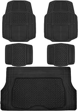 Amazon Com Bdk Ab110 C3 Black Ruggedduty Car Rubber Floor Mats W Cargo Trunk Liner For Auto Sedan Suv Van Total Protection Automotive