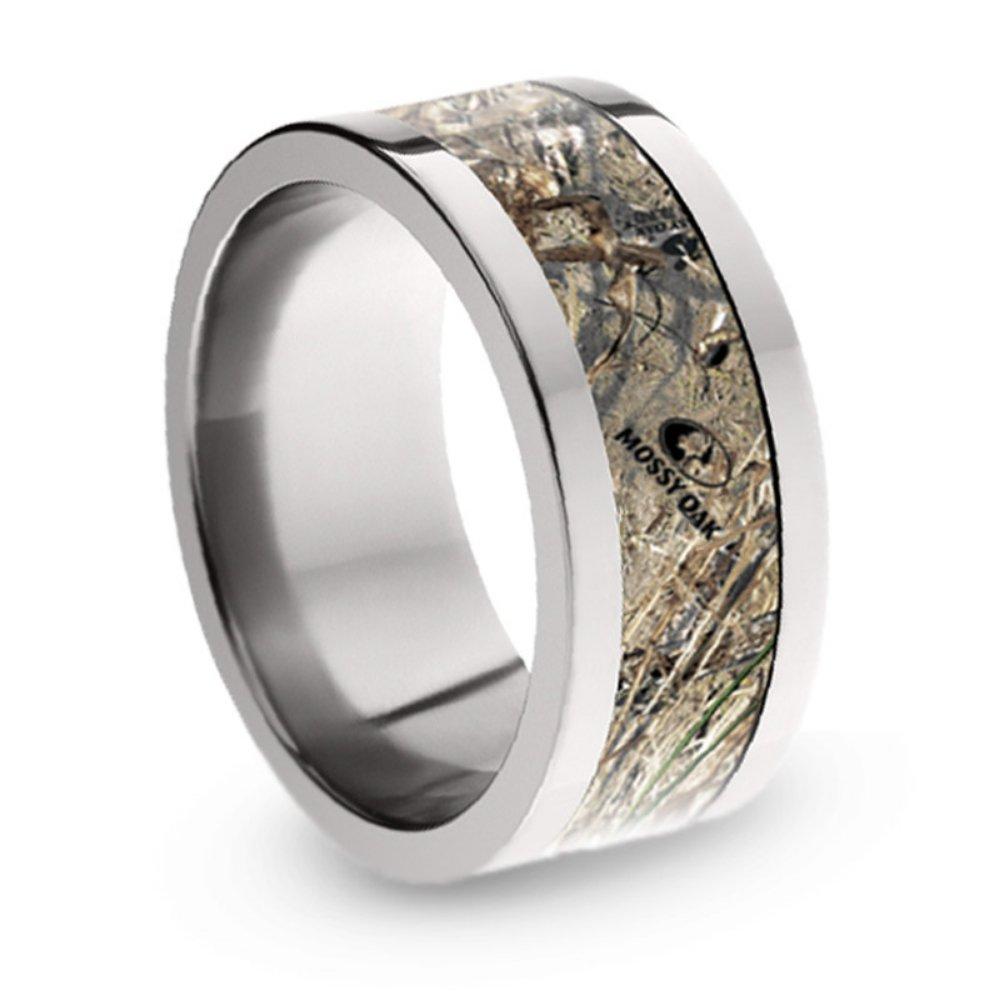 Mossy Oak Duck Blind Camo 10mm Comfort-Fit Titanium Ring, Size 14.75