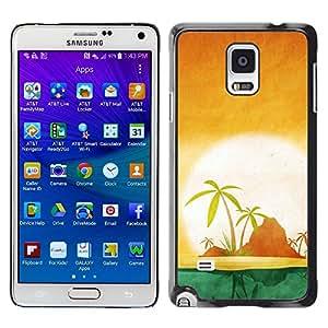 LECELL -- Funda protectora / Cubierta / Piel For Samsung Galaxy Note 4 SM-N910F SM-N910K SM-N910C SM-N910W8 SM-N910U SM-N910 -- Minimalist Beach Island Sunset --