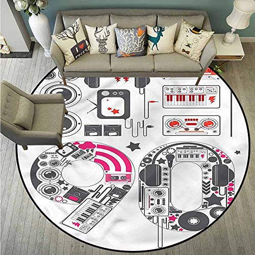 (Living Room Round Mat,90s,Groovy 90s Music Keyboard Cable,Anti-Slip Doormat Footpad Machine Washable,3'7