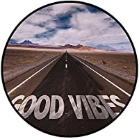 Printing Round Rug,Good Vibes,Inspirational Phrase on Highway On The Road Theme Travel Enthusiasm Mat Non-Slip Soft Entrance Mat Door Floor Rug Area Rug For Chair Living Room,Brown Dark Blue White