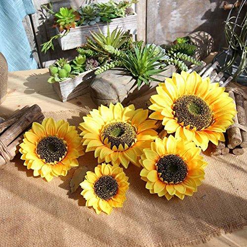 Gotian Fake Silk Artificial Sunflower Flower Heads Bouquet Floral Garden Home Decor ~ Suit for Bridal Bouquet, Wedding Parties, Home Decorations, Bookstore, Cafe Store ~ (B) -