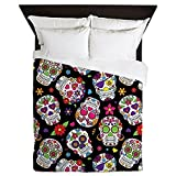 CafePress - Colorful Sugar Skulls On Black - Queen Duvet Cover, Printed Comforter Cover, Unique Bedding, Luxe