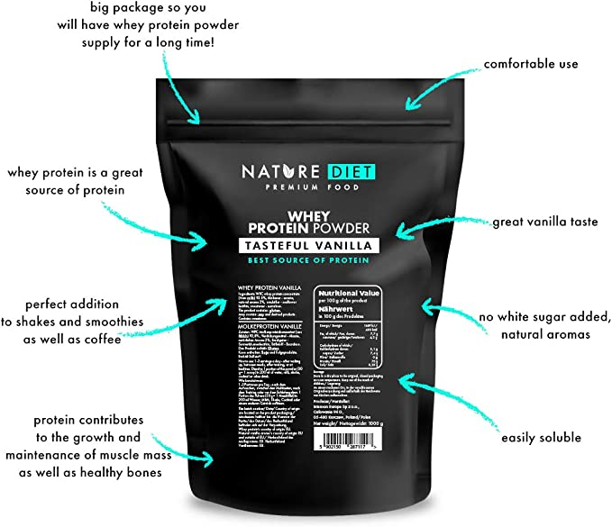 Nature Diet - Proteína de suero en polvo, vainilla