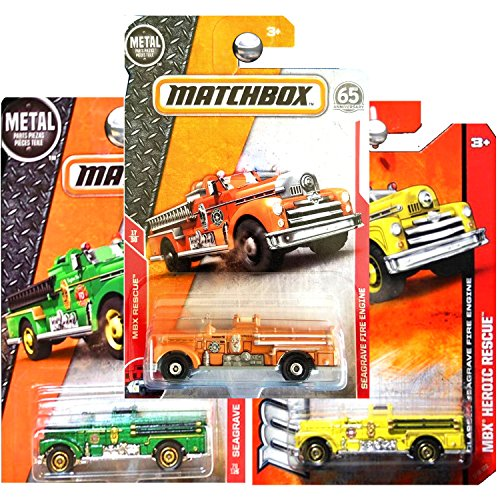 Matchbox Classic Seagrave Fire Truck Engine Yellow Orange and Green SET OF 3 -
