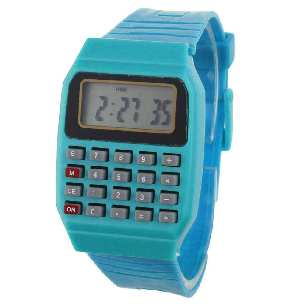 RIUDA Unsex Kids Silicone Multi-Purpose Date Time Electronic Wrist Calculator Watch Blue by RIUDA (Image #1)