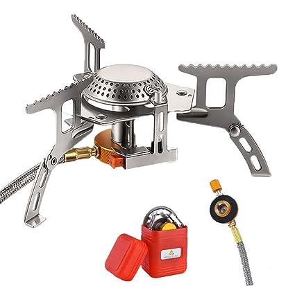 Mini al aire libre estufas quemador de gas estufa de Camping plegable acero inoxidable quemadores de ...