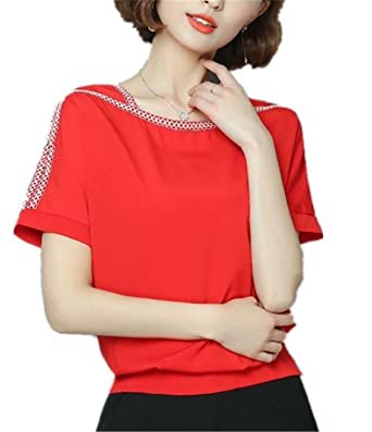 SDHEIJKY Womens Fashion Chiffon Blouse Batwing Sleeve Shirt Female Blusas