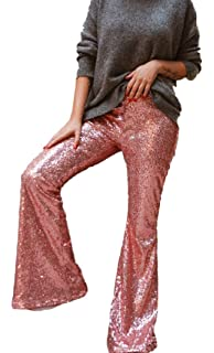 ec5cf134e28bc8 AZZAVERA Soft Pink Sequin High Waist Flare Pants Bell Bottoms Wide Leg Long  Palazzo Yoga Harem