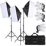 Andoer Photography Studio Portrait Softbox Lighting Tent Kit Photo Equipment Including 12pcs 5500k 45W Bulb+ 3pcs 4in1 E27 Bulb Socket+ 3pcs Softbox+ 3pcs 200cm Light Stand and Carrying Bag