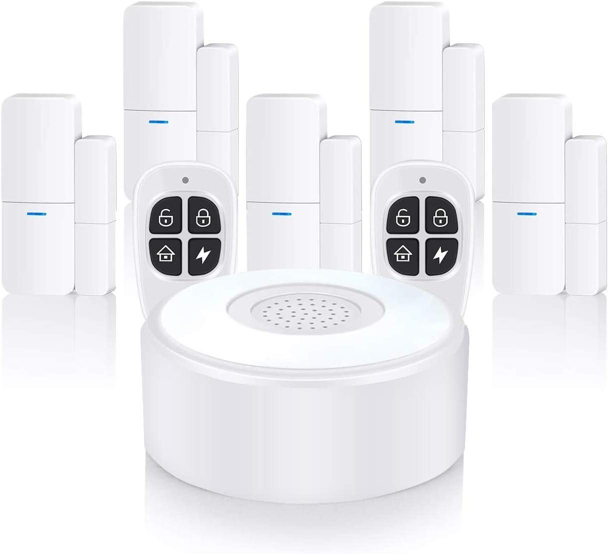 Home Alarm System sans fil, système d'alarme complet avec 1 sirène, 5 capteurs de fenêtre et 2 télécommandes – Alarme de fenêtre de porte, alerte de l'application via le réseau mobile (1B-5CS2KF)