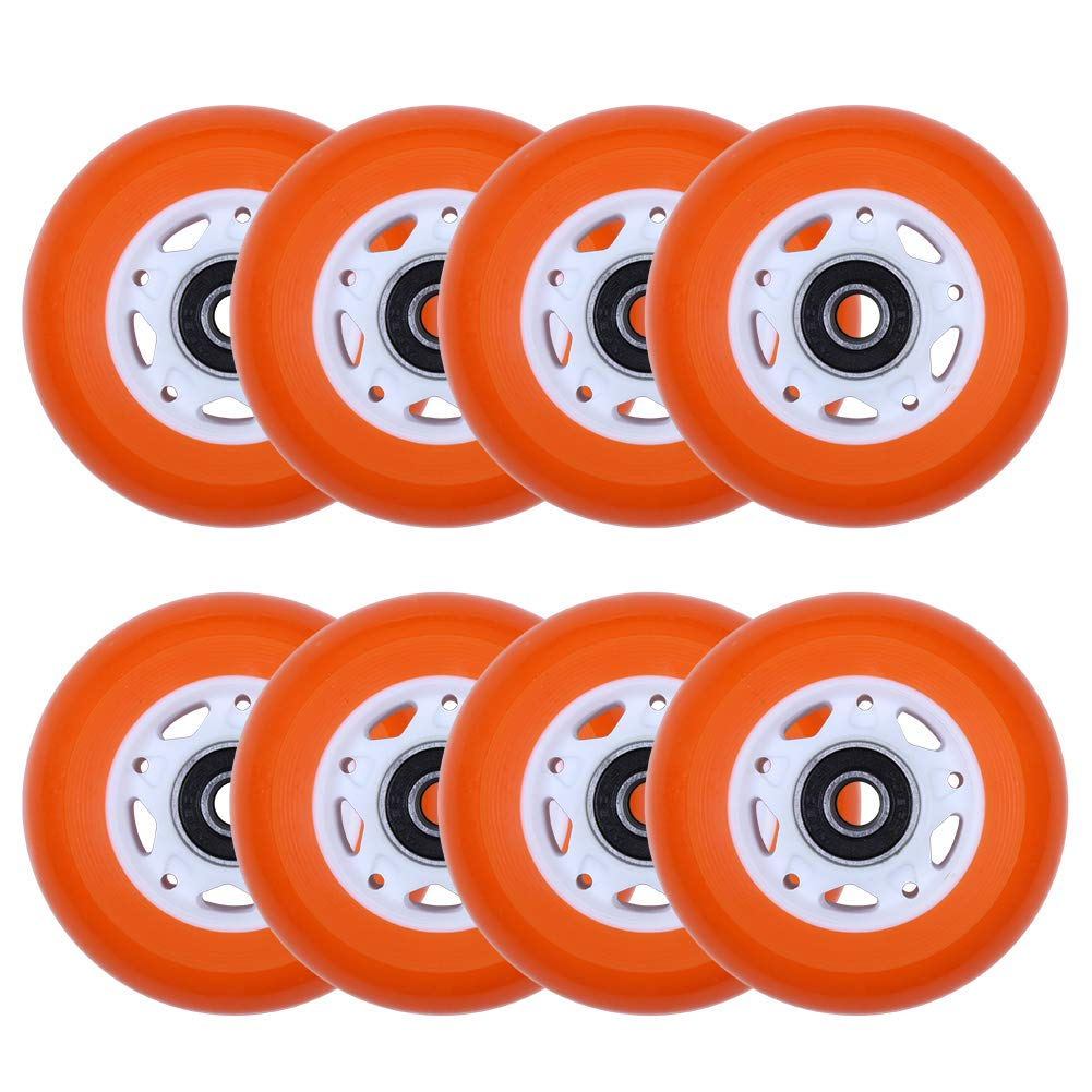 AOWISH 8-Pack 76mm Inline Skate Wheels 88A Inline Skates Replacement Wheel with Bearings ABEC-9 (Orange Wheel White Hub) by AOWISH