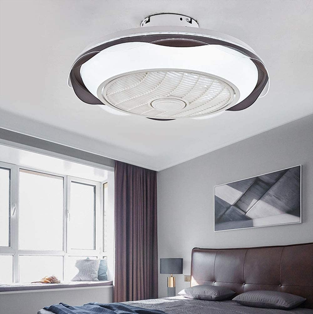 VIVICL Modern Ceiling Fan Light LED with Remote Control Invisible Mute Ceiling Fan Light 3 Color Dimmable Chandelier Living Room Bedroom 220V,A C