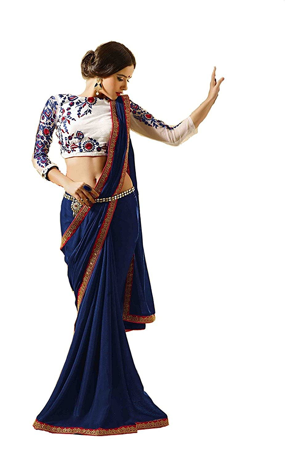 Women's blue Georgette Saree