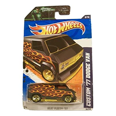Hot Wheels 2011 Custom '77 Dodge Van - Heat Fleet '11 with Flames - On Green Lantern Card: Toys & Games