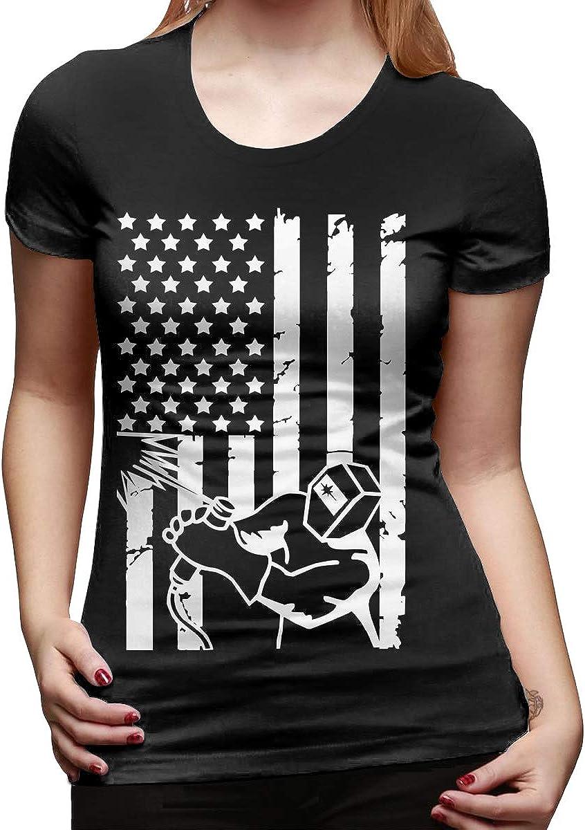 Camiseta de Manga Corta para Mujer, diseño de Bandera Estadounidense: Amazon.es: Ropa y accesorios