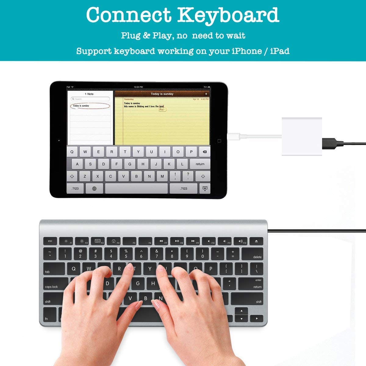 Adaptador de c/ámara USB,adaptador de cable de sincronizaci/ón de datos OTG hembra USB 3.0 compatible con iPhone x 8 7//iPad Air Pro Mini negro lector de tarjetas de soporte,unidad flash USB,mouse