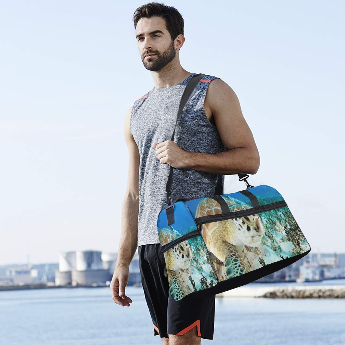 Travel Tote Luggage Weekender Duffle Bag Turtle Sea Coral Large Canvas shoulder bag with Shoe Compartment