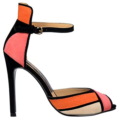 966b2318e Onlineshoe Peep Toe Mid Heels - High Back Strappy Sandals - Coral Orange  Cream Black Suede