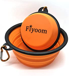 Fiyoom Collapsible Travel Dog Bowls with Lid,Orange 2 Pack Large and Small with Carabiner Clip,Portable Silicone Pet Feeder Travel Water Bowl for Dog/Cat Food Water Feeding