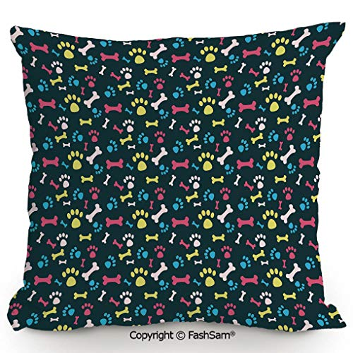 FashSam Polyester Throw Pillow Cushion Cool Canine Elements Paw Marks and Bones Ornamental Abstract Composition Image Decorative for Sofa Bedroom Car Decorate(20