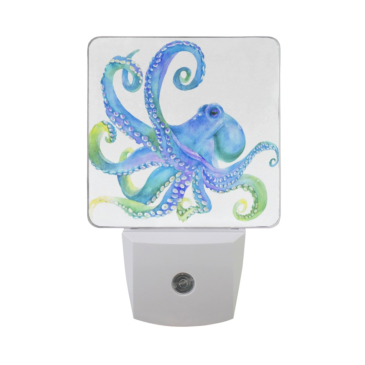JOYPRINT Led Night Light Watercolor Ocean Sea Animal Octopus, Auto Senor Dusk to Dawn Night Light Plug in for Kids Baby Girls Boys Adults Room