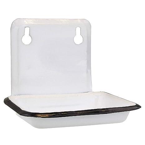 MACOSA SA05500 Seifenschale Weiß Emaille Vintage-Stil Seifenhalter  Seifenablage Wandmontage Seifen-Halter Bad Küche Seifen-Aufbewahrung