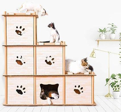 FYPa Muebles de Gato Cat Climbing Frame Cat Scratch Board Cartón Corrugado estéreo para Gatos Cat