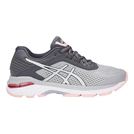Asics T855N Women's GT-2000 6 Running Shoes, Mid Grey/Silver/Carbon