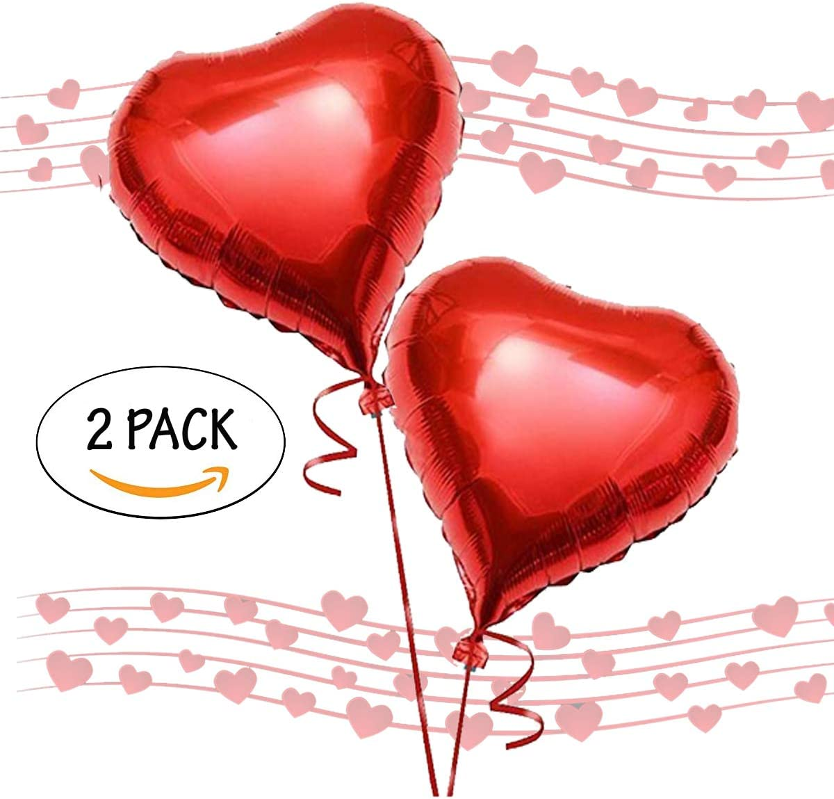 Filled Lizzy/® Valentines Day HUGE Red Heart Shaped Romantic Love Foil Balloons Pack of 2 60 CM in Size Balloons for Valentines Day Wedding Bridal Shower Anniversary /& Engagement Decoration