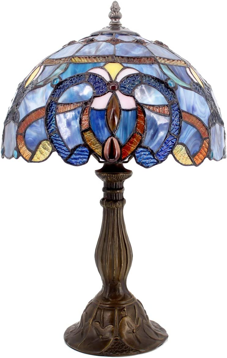 Tiffany Style Lamp Stained Glass Table Lamps Blue Purple Clouldy Lampshade 18 Inch Tall Antique Bookcase Beside Desk Reading Lighting for Living Room Bedroom S558 WERFACTORY