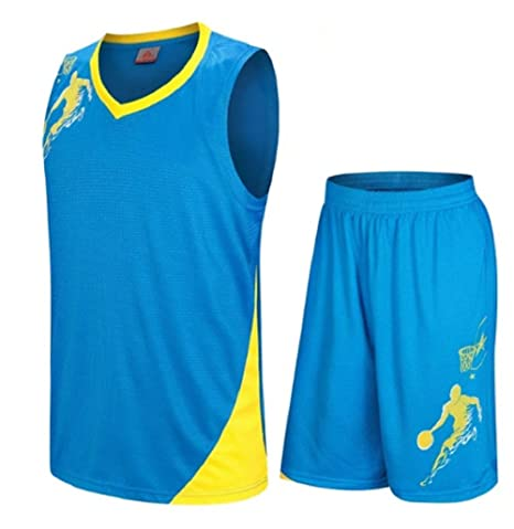 6719e932a0af Uniforms kit Adult Sports clothing Breathable basketball jerseys shirts  shorts (Blue