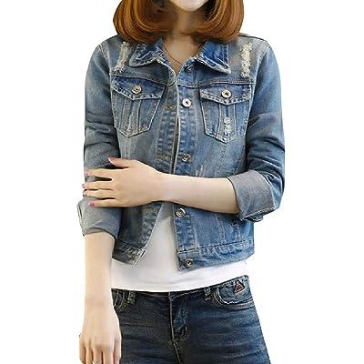 Andopa Más del tamaño mini dril de algodón de la blusa destruido Fit Denim Jacket para Mujeres Azul Grande: Ropa y accesorios