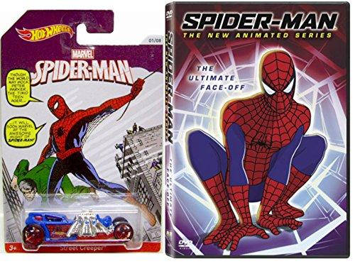 Spider-Man - The New Animated Series - The Ultimate Face Off DVD & Hot Wheels Exclusive Marvel Spider-man Car - MTV Cartoon TV Show WebSlinger Super hero movie Set (Spiderman The New Animated Series Green Goblin)