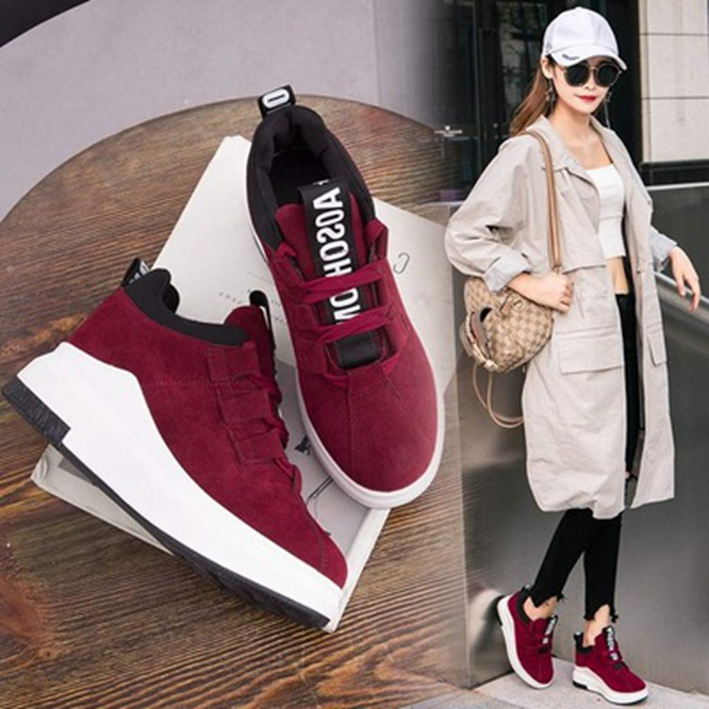 ASO-SLING Womens High Heels Wedge Sneaker Travel Loafer Casual Flat Shoes Slip On Wedges Canvas