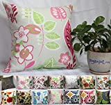 Decorative Pillow Cover - TangDepot 100% Cotton Floral/Flower Printcloth Decorative Throw Pillow Covers /Handmade Pillow Shams, 14 Color and 10 Size options, Light Black, Peach Blossom, Red Rosebush, Red And Green Leaf, White Magnolia, Fantastic Flowers, Chrysanthemum, Peony, Red And Navy Flower, Blue Floral, Pink Floral, Blue Wheel, Red Wheel, Tree Rings, 12